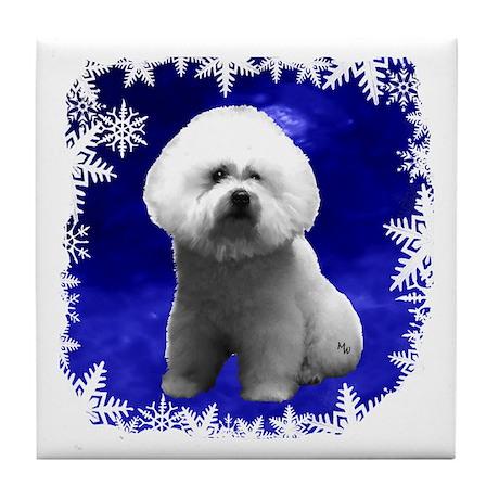 bichon frise holiday design Tile Coaster