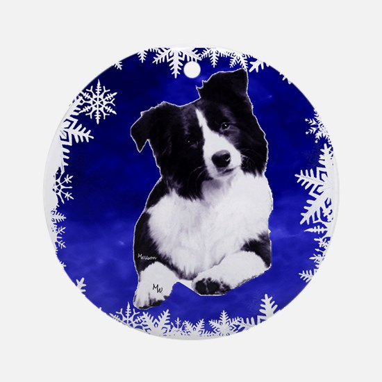border collie holiday designs Ornament (Round)