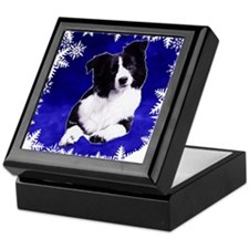 border collie holiday designs Keepsake Box