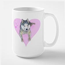 Heart Husky Large Mug