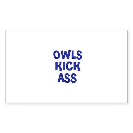 Owls Kick Ass Rectangle Sticker