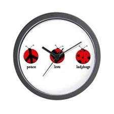 Peace, love, ladybugs Wall Clock