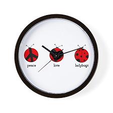 Peace, love, ladybugs Wall Clock