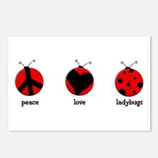 Peace, love, ladybugs Postcards (Package of 8)