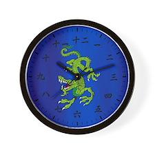 Green Japanese Dragon Water Deity Wall Clock