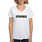Snowmobile Skull Women's V-Neck T-Shirt