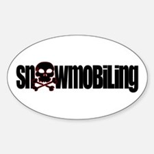 Snowmobile Skull Oval Decal