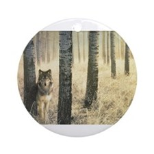 """""""Wolf In Woods"""" Ornament (Round)"""