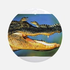 """""""Alligator and Babies"""" Ornament (Round)"""
