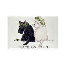 Scottish Terrier Westie Christmas Rectangle Magnet