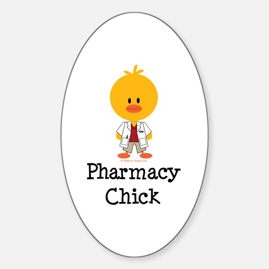 Pharmacy Chick Oval Decal