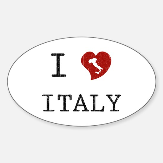 I Love Italy Vintage Oval Decal