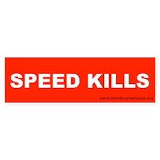 Speed Kills Bumper Sticker (white on red)