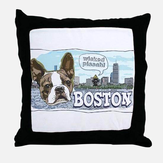Wicked Pissah Boston Terrier Throw Pillow
