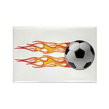 Side fire soccer Rectangle Magnet