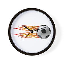 Side fire soccer Wall Clock