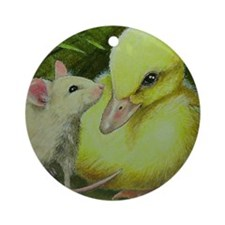 Duck and Mouse Ornament (Round)