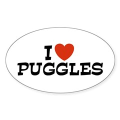 Puggle Oval Decal