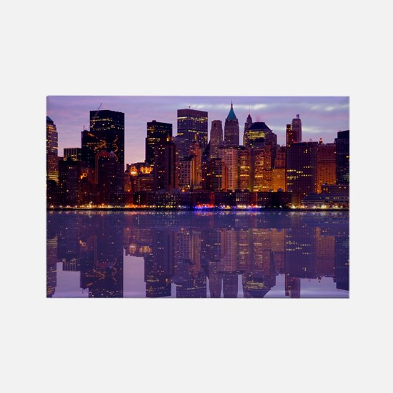 Manhattan Cityscape Reflectio Rectangle Magnet