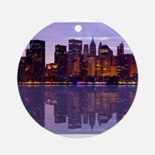 Manhattan Cityscape Reflectio Ornament (Round)