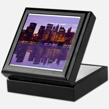 Manhattan Cityscape Reflectio Keepsake Box
