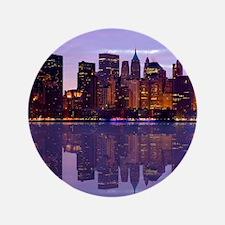 """Manhattan Cityscape Reflectio 3.5"""" Button"""