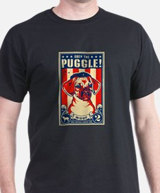 Obey the Puggle! USA Black T-Shirt