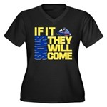 They Will Come Snowmobile Women's Plus Size V-Neck
