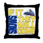 They Will Come Snowmobile Throw Pillow