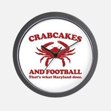 Crabcakes and Football Wall Clock