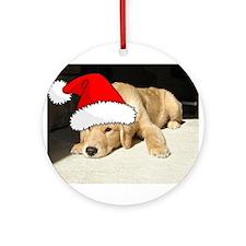 Christmas Golden Retriever PuppyP Ornament (Round)