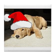 Christmas Golden Retriever PuppyP Tile Coaster