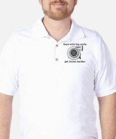 Guys with big units get blown Golf Shirt