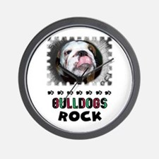 BULL DOGS ROCK Wall Clock