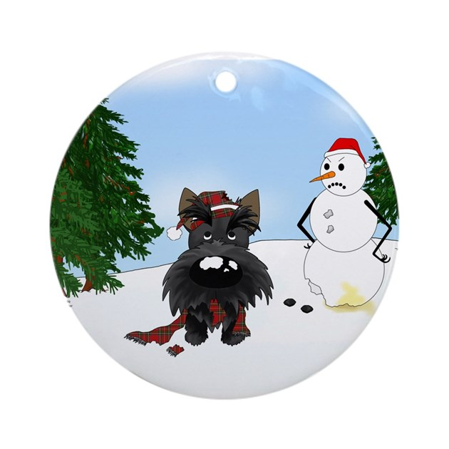 Scottish baby gifts australia : Scottish terrier holiday ornament round by nothinbuttdogs