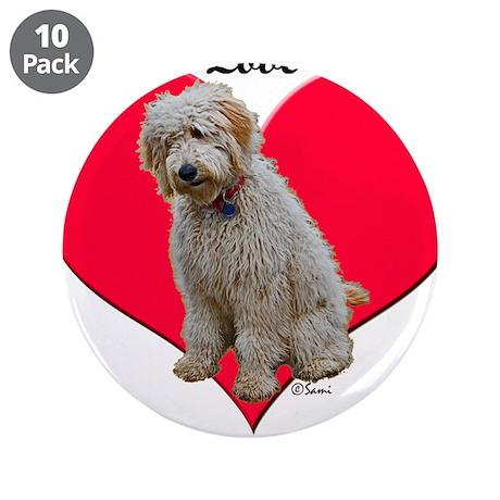 "Golden Doodle Love Dad 3.5"" Button (10 pack)"