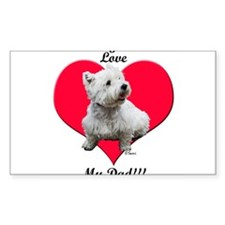 Sitting Westie Loves Dad Rectangle Decal