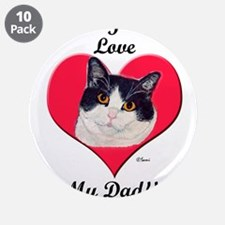 "Black & White Cat Father's Da 3.5"" Button"