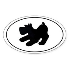 Schnauzer Pup Playing - Oval Decal