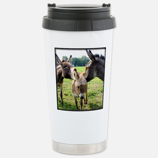 Miniature Donkey Family Stainless Steel Travel Mug