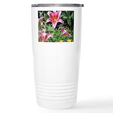 Pink Star Lily Garden Travel Mug