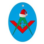 Masonic Santa Hat Oval Ornament