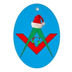 Masonic Santa Hat Oval Ornament