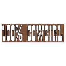 100 Percent Cowgirl Bumper Bumper Sticker