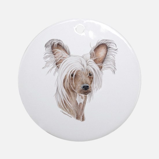 Chinese crested dog Ornament (Round)