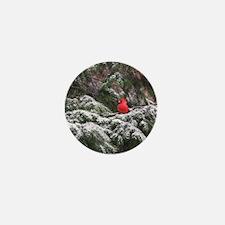 Snowy Cardinal Mini Button