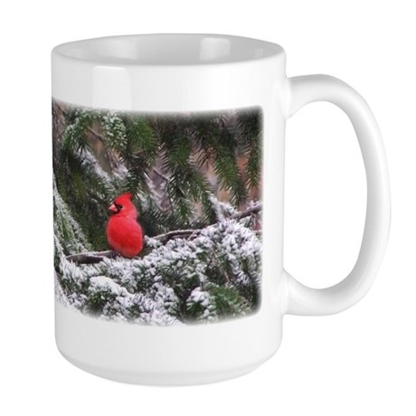 Snowy Cardinal Large Mug