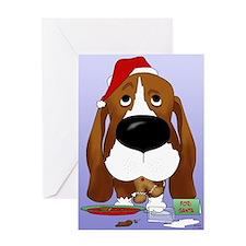 Basset Santa's Cookies Greeting Card