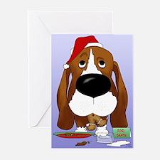 Basset Santa's Cookies Greeting Cards (Pk of 20)