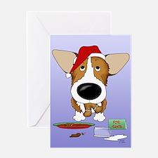 Corgi Santa's Cookies Greeting Card